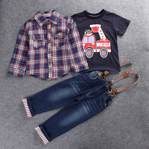 Boys Plaid Firetruck Tee and Suspender 3-Piece Set - My Modern Kid