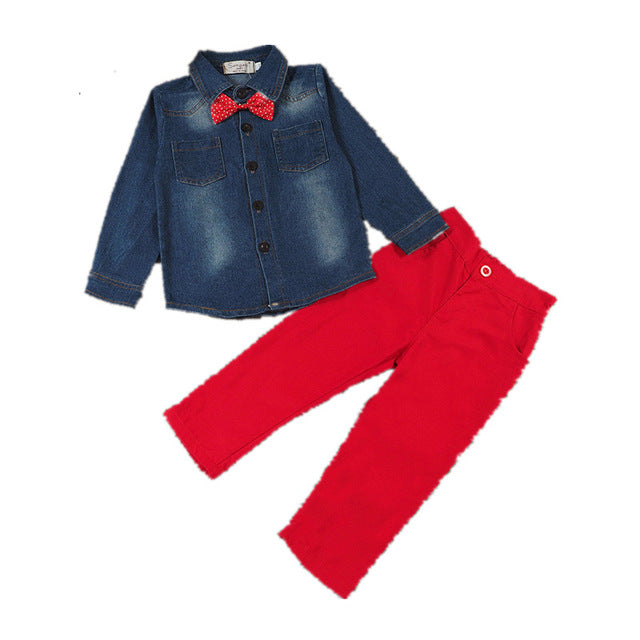 Denim Bow-Tie Shirt and Red Pants - My Modern Kid