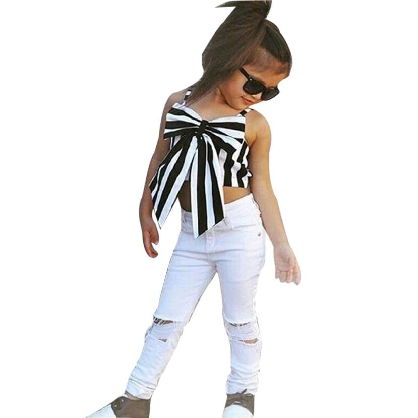 Girls Striped Bowknot Jeans Set - My Modern Kid