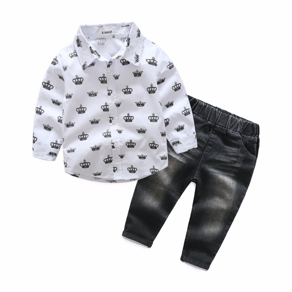 Crown Print Collared Shirt & Jeans Set - My Modern Kid