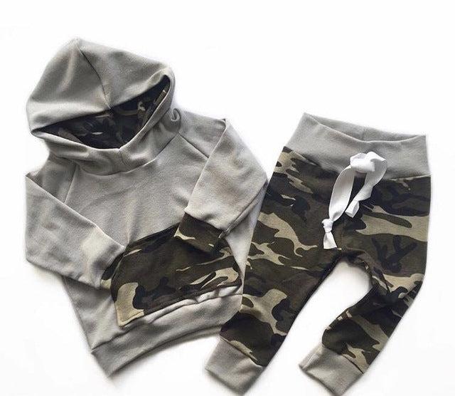 Gray Camouflage Hooded Clothing Set - My Modern Kid
