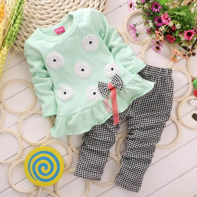Flower Bow and Plaid Pants Set (Multiple Colors) - My Modern Kid