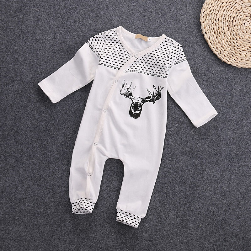 a282745ab151 White and Black Deer Print Jumpsuit