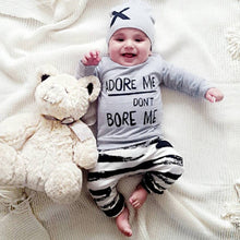 """Adore Me Don't Bore Me"" Striped Unisex Clothing Set - My Modern Kid"