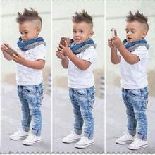 Boys White Polo Tee and Jeans Outfit - My Modern Kid