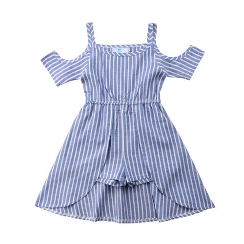 Striped Off-Shoulder Romper Dress - My Modern Kid