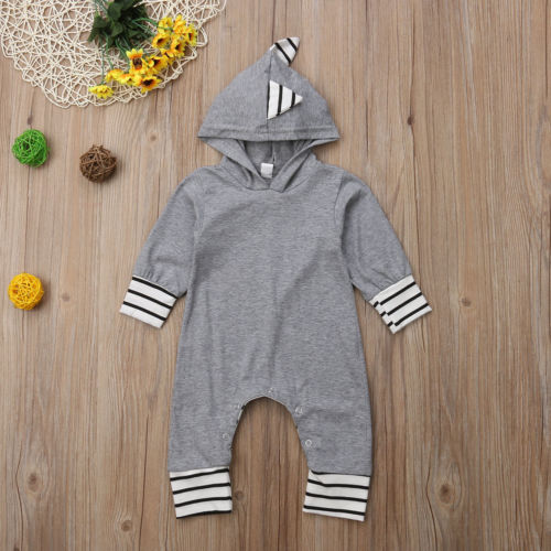 Striped Dinosaur Hooded Jumpsuit - My Modern Kid