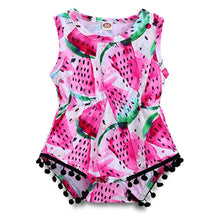 Baby Girls Watermelon Print Tassels Romper - My Modern Kid
