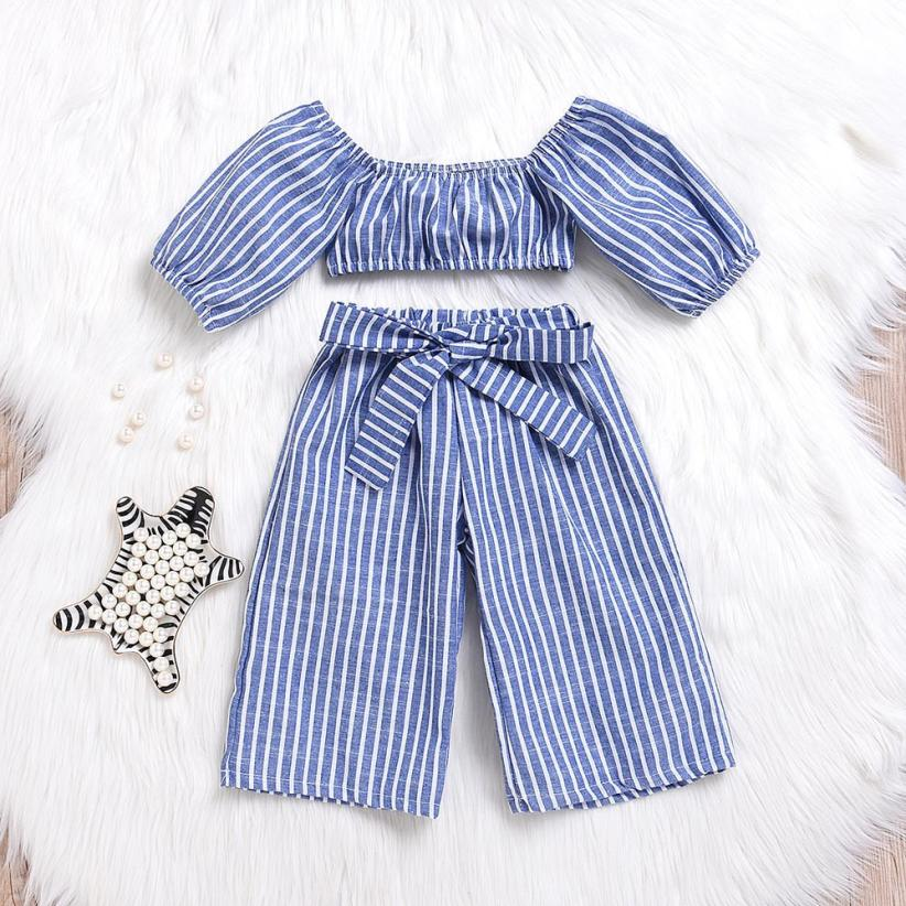 Adorable 2-Piece Pinstripe Off The Shoulder Set - My Modern Kid