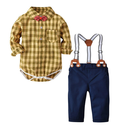 Baby Boys Gentleman Plaid Suspender Set - My Modern Kid