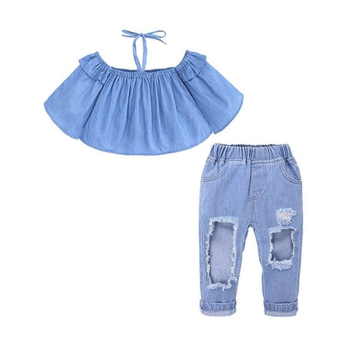 Girls Off-The-Shoulder Top & Jeans Set - My Modern Kid