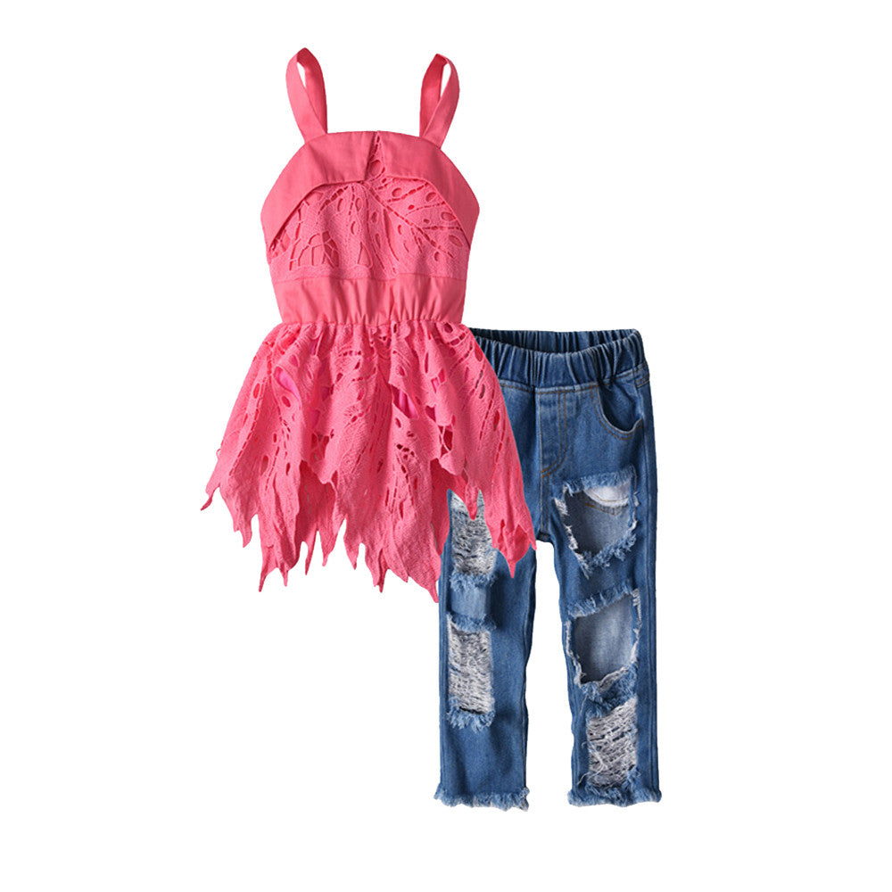 Girls Peplum Destroyed Top & Denim Pants Set - My Modern Kid