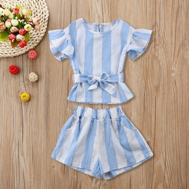 Girls Striped O-Neck Summer Casual Set - My Modern Kid