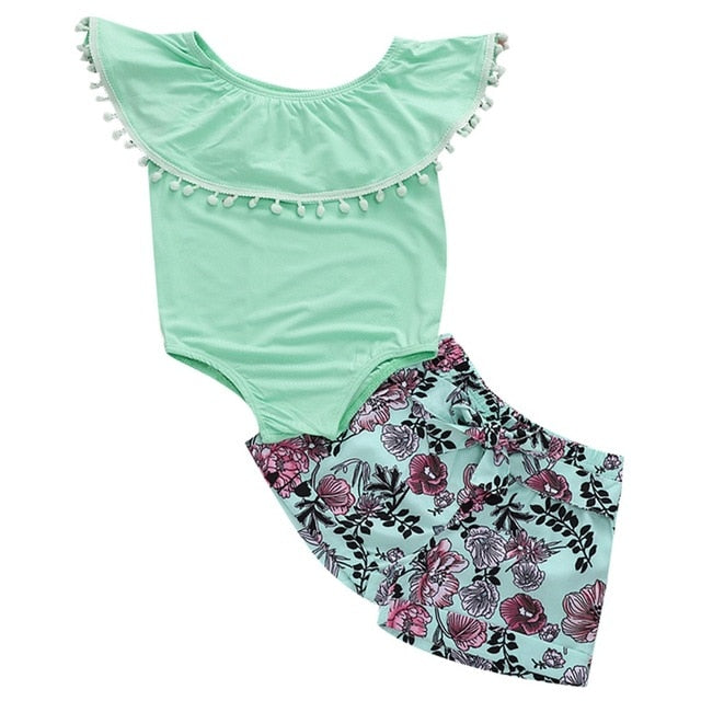 Teal Ruffled Flower Shorts Set - My Modern Kid