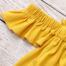 Girls Yellow Off The Shoulder Crop & Flared Denim Pants - My Modern Kid