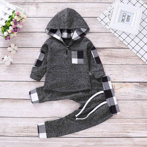 Plaid Hooded Unisex Pullover Set - My Modern Kid