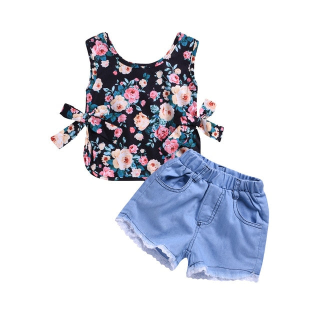 Floral Bow Tank Top + Denim & Lace Shorts Set - My Modern Kid