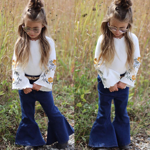 Hippie Vibes Vintage Flared Denim Set - My Modern Kid