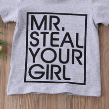 """Mr. Steal Your Girl"" Letter Print Short Sleeve  Casual T-shirt - My Modern Kid"