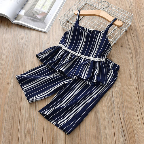 Girls Striped Navy Capri Set - My Modern Kid
