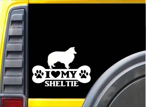 Sheltie Bone Sticker L074 8 inch Shetland sheepdog decal