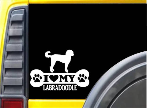 "Labradoodle Bone L085 8"" vinyl sticker dog decal"