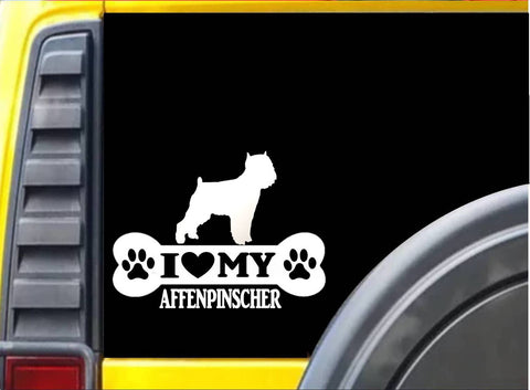 "Affenpinscher Bone L110 8"" vinyl sticker dog heartbeat decal"