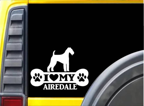 Airedale Bone Sticker L018 8 inch terrier dog decal