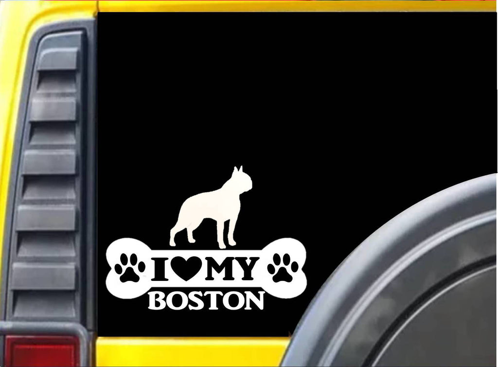 Boston Bone Sticker L050 8 inch boston terrier dog decal - The Safari Shoppe