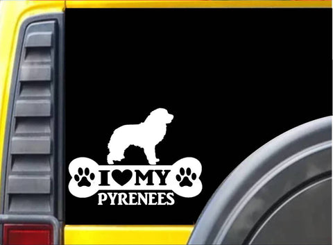 Great Pyrenees Bone Sticker L088 8 inch dog decal