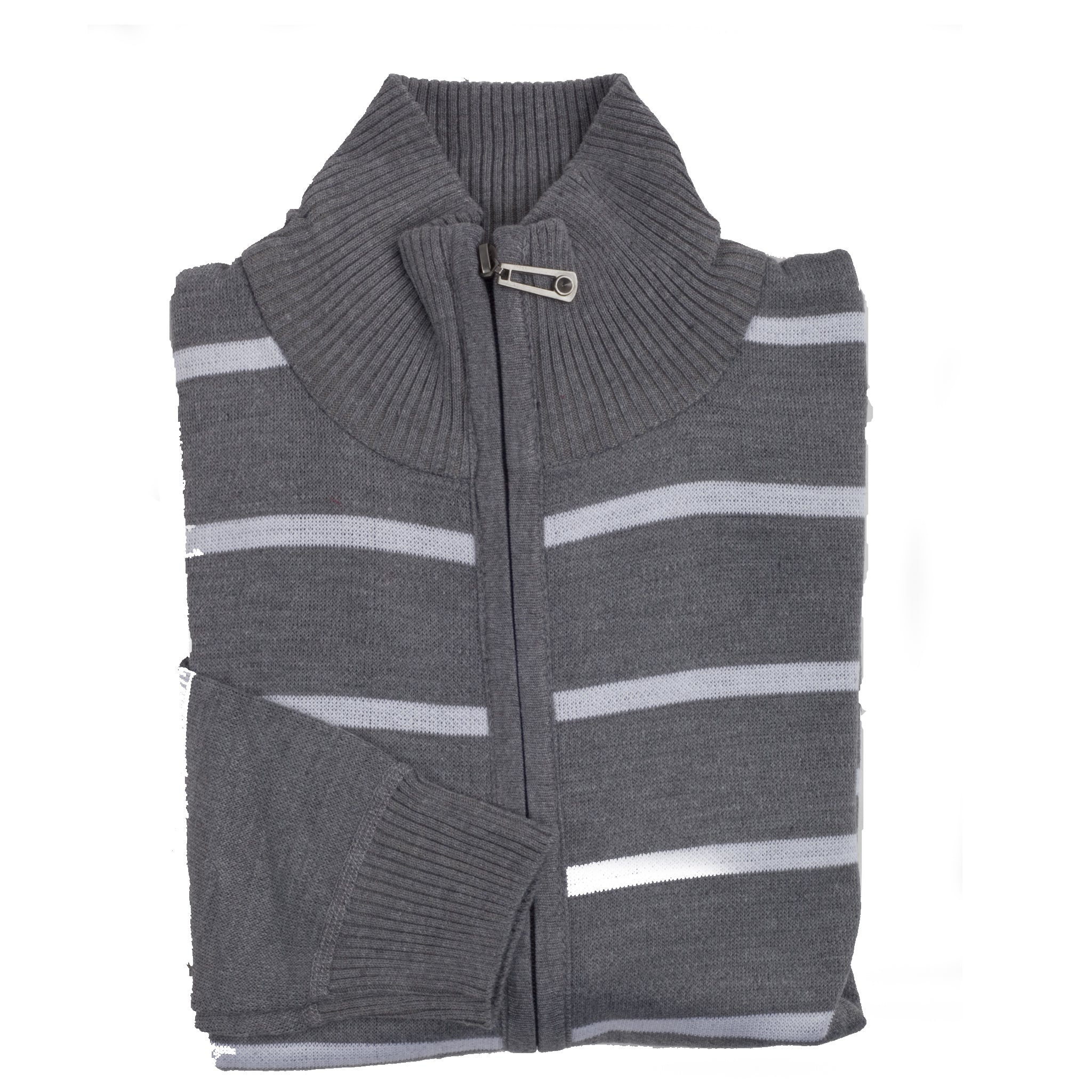 FULL ZIP STRIPED SWEATER JACKET/GREY