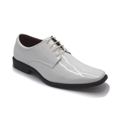 WHITE LACE UP TUXEDO SHOES