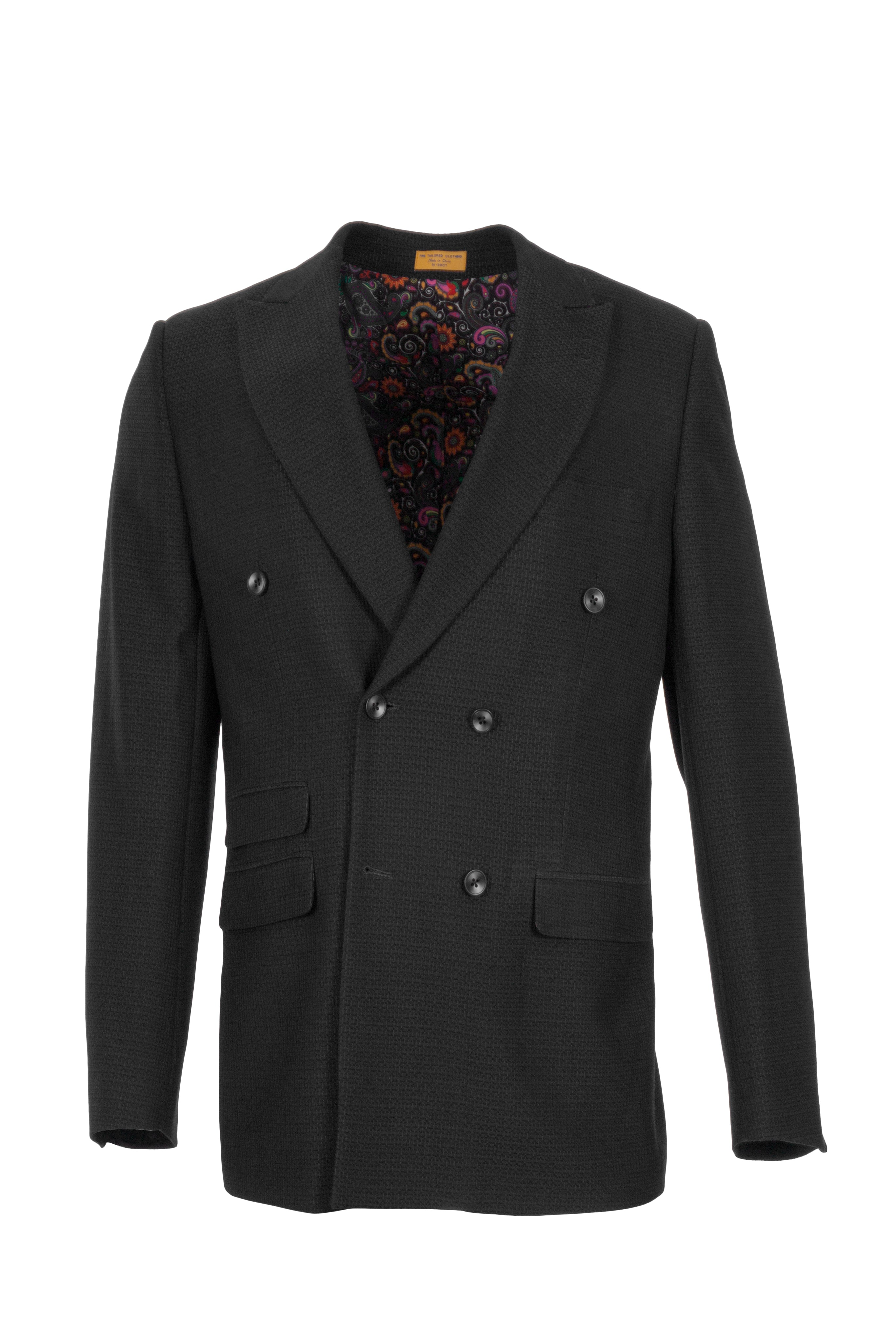 SPRING DOUBLE BREASTED BLACK BLAZER