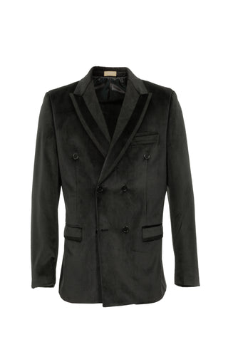 DOUBLE BREASTED VELVET BLACKCOAT