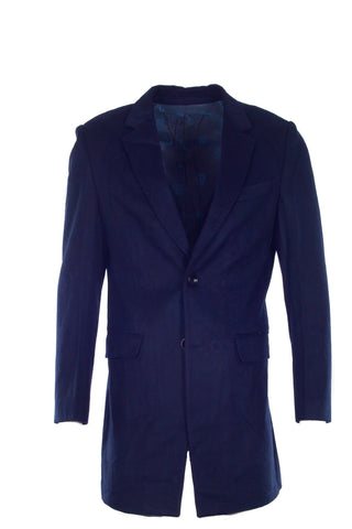NAVY 3/4 LENGTH SUEDE JACKET