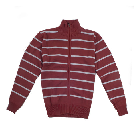 FULL ZIP STRIPED SWEATER JACKET/RED