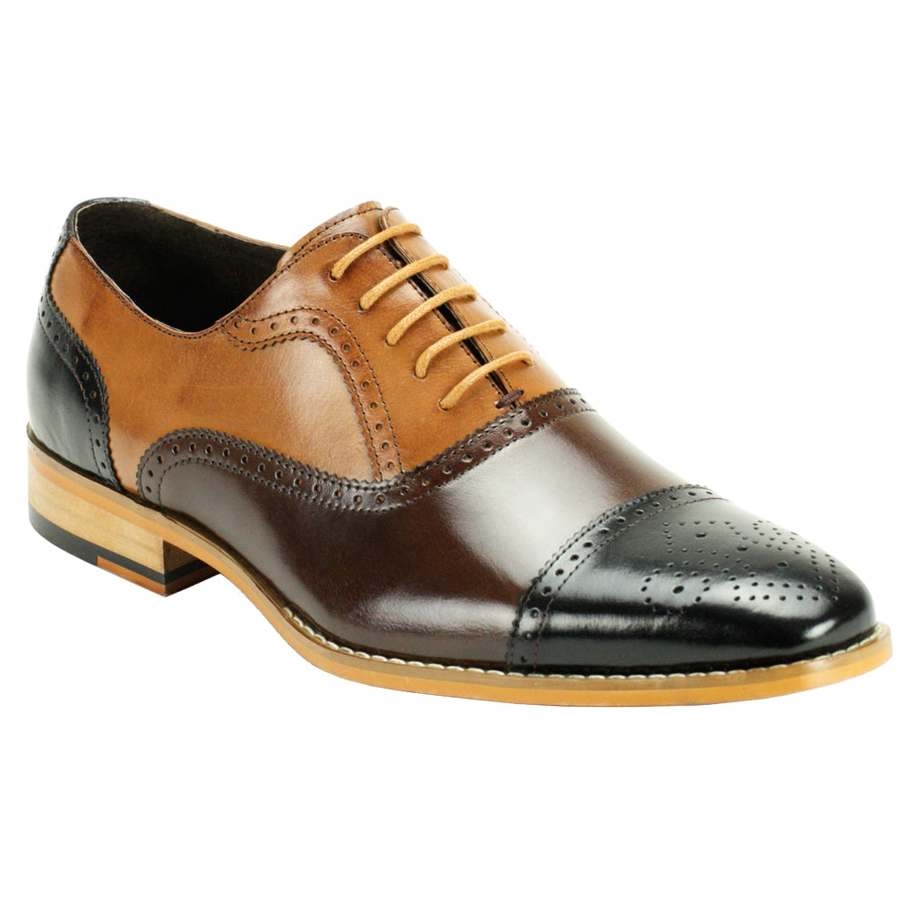 BAILEY / GIOVANNI LEATHER SHOES BLACK/CH/TAN