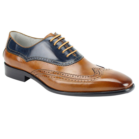 CYPRUS / GIOVANNI LEATHER SHOES TAN/NAVY