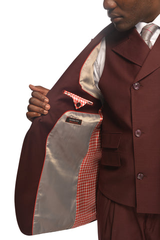 SANGIOVESSI BURGUNDY VESTED SUIT BY TIGLIO