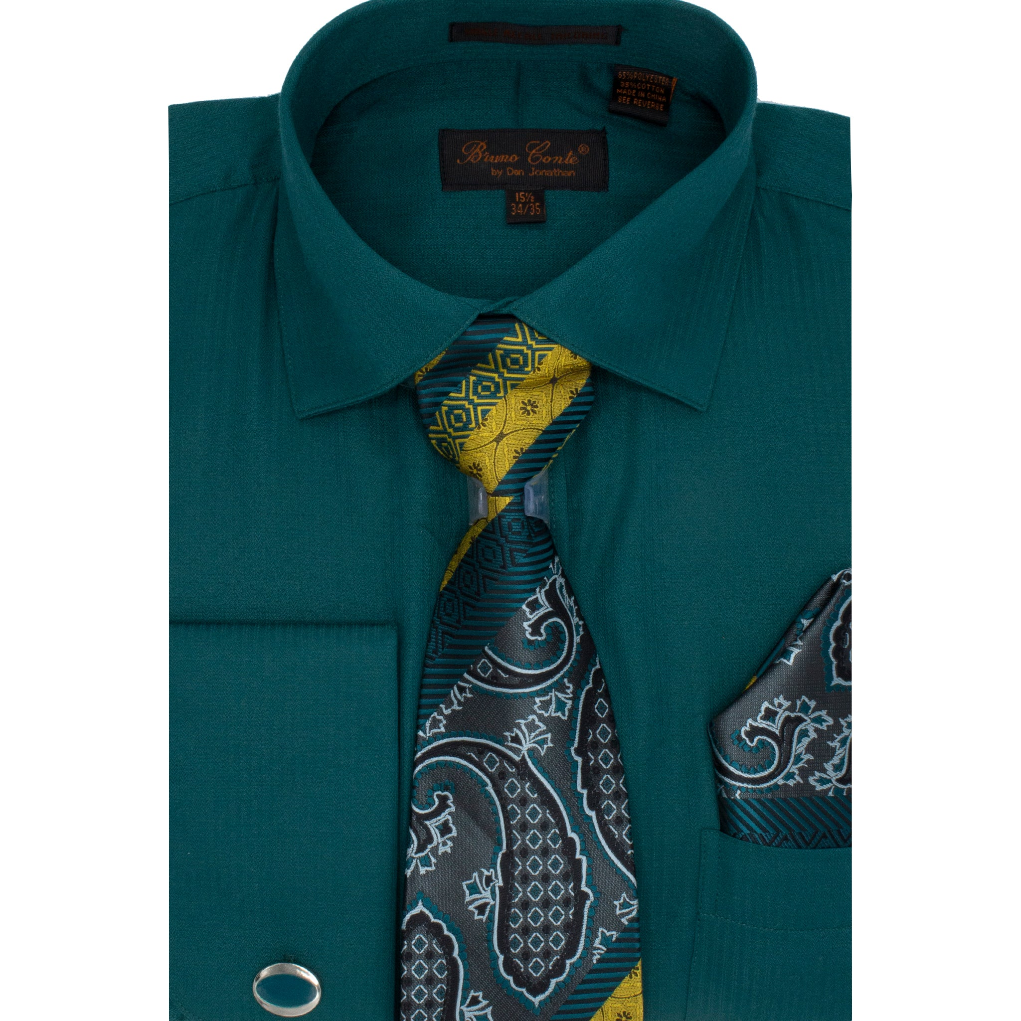 BRUNO CONTE SHIRT,TIE & POCKET SQUARE SET/ GREEN