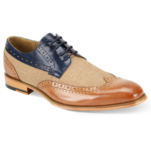 HUNTER / GIOVANNI LEATHER SHOES TAN/NAVY