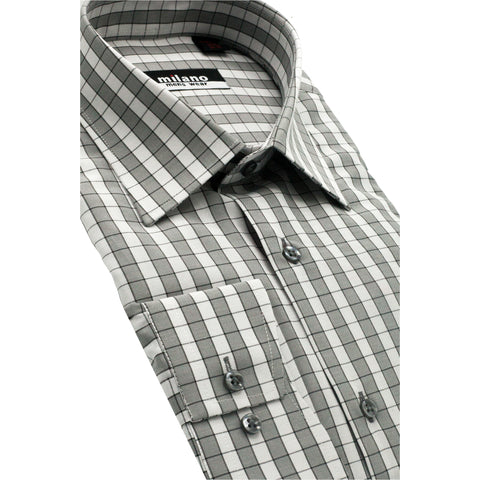 MILANO PLAID SPORT SHIRT GREY