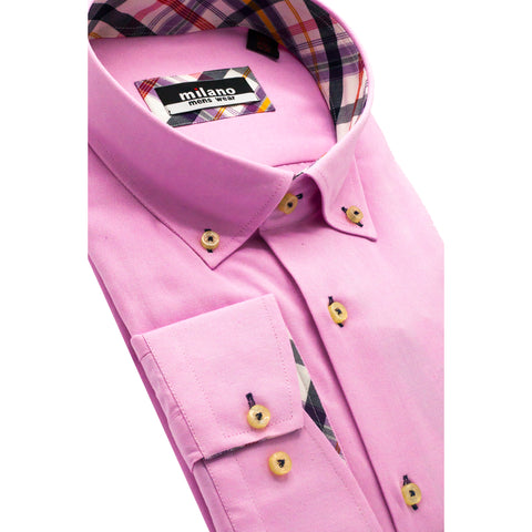 MILANO BUTTON DOWN SPORT SHIRT PINK