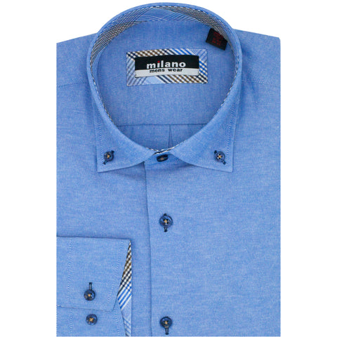 MILANO BUTTON DOWN SPORT SHIRT R.BLUE