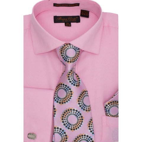 BRUNO CONTE SHIRT, TIE & POCKET SQUARE SET/ PINK DOT