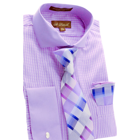 ST. PATRICK SHIRT, TIE & POCKET SQUARE SET / PURPLE