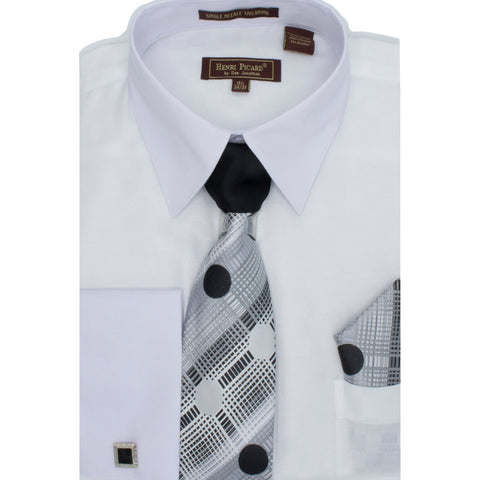 HENRI PICAR SHIRT, TIE & POCKET SET/ WHITE CHECK