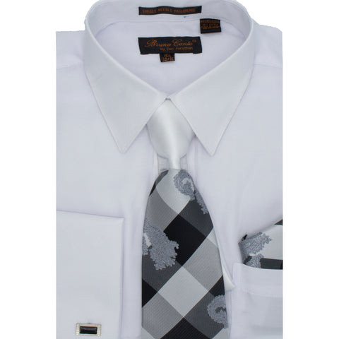 BRUNO CONTE SHIRT, TIE & POCKET SQUARE SET/ WHITE