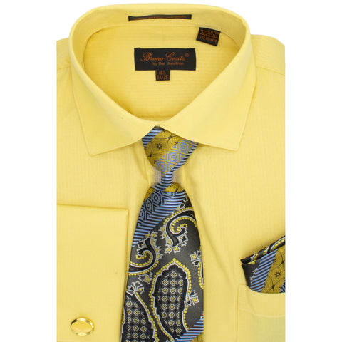 BRUNO CONTE SHIRT, TIE & POCKET SQUARE SET/ MUSTARD