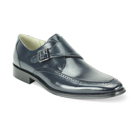 AMATO LEATHER MONK STRAP - NAVY